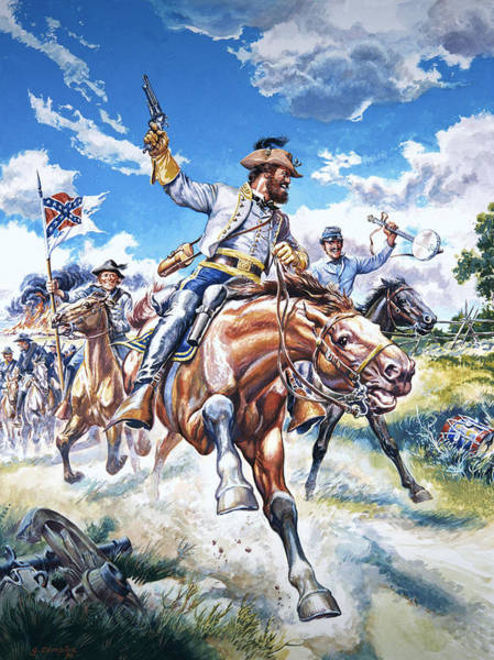 Victorious Painting - Confederate Soldiers In The American Civil War by American School