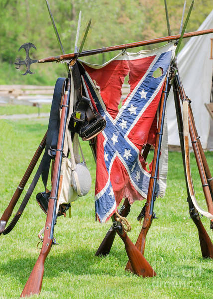 Photograph - Confederate Stack Arms With Colors 0428c by Cynthia Staley