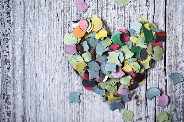 Blue Heart Wall Art - Photograph - Confetti Heart by Nailia Schwarz
