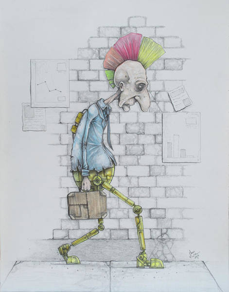 Punk Drawing - Conformity Progression by Chase Fleischman