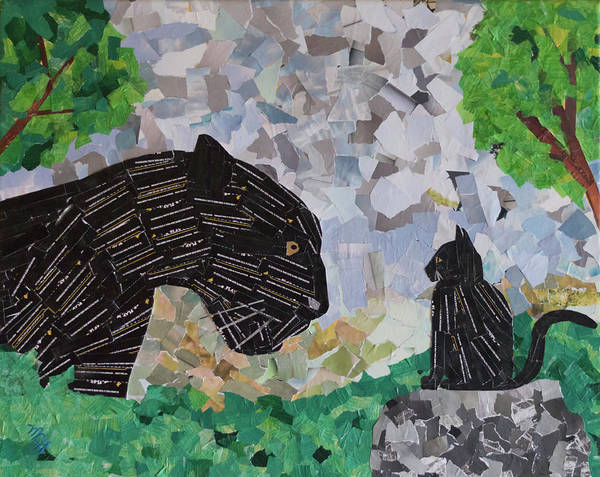 Black Panther Mixed Media - Confrontation by Mary Chris Hines