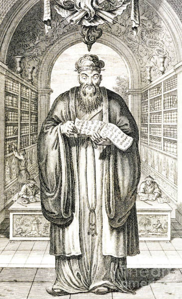 Chinese Drawing - Confucius In A Library by Honbleau