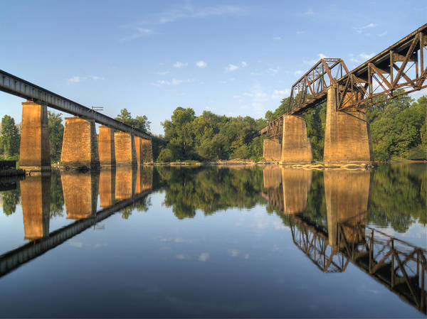 Photograph - Congaree River Rr Trestles - 1 by Charles Hite