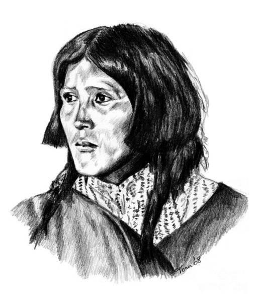 Drawing - Congha's Wife by Toon De Zwart