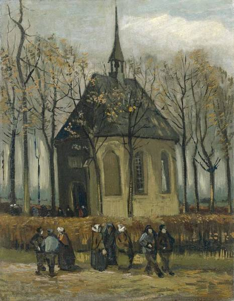 Painting - Congregation Leaving The Reformed Church In Nuenen Nuenen January  February 1884 And Autumn 1885 V by Artistic Panda