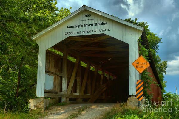 Ford Van Photograph - Conley's Ford Covered Bridge by Adam Jewell