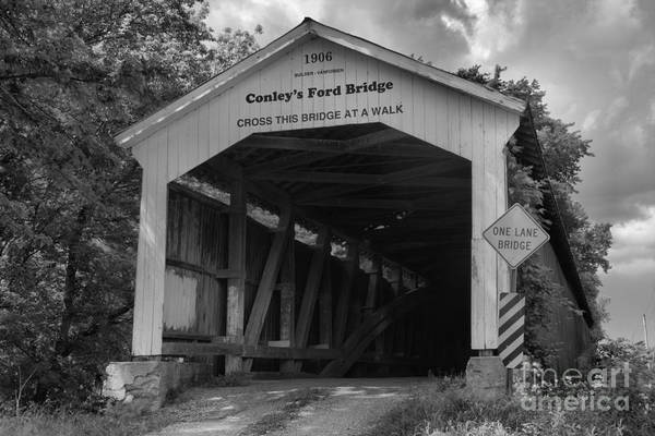 Ford Van Photograph - Conley's Ford Covered Bridge Black And White by Adam Jewell