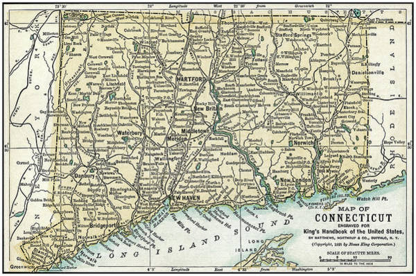 Waterbury Photograph - Connecticut Antique Map 1891 by Phil Cardamone