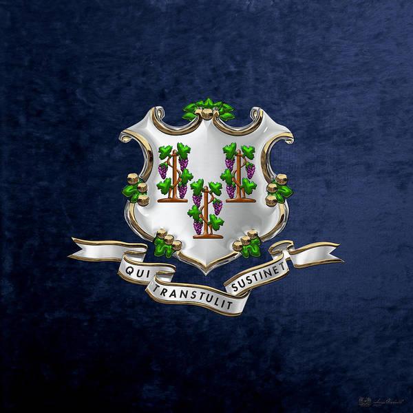 Digital Art - Connecticut Coat Of Arms Over Blue Velvet by Serge Averbukh