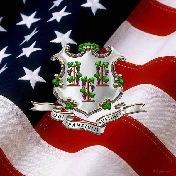 Digital Art - Connecticut Coat Of Arms Over U.s. Flag by Serge Averbukh