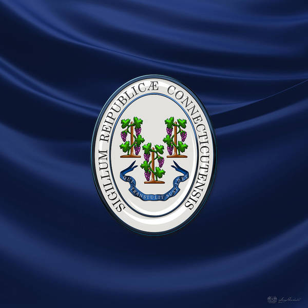 Digital Art - Connecticut Great Seal Over Flag by Serge Averbukh