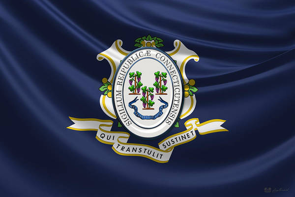 Digital Art - Connecticut Great Seal Over State Flag by Serge Averbukh