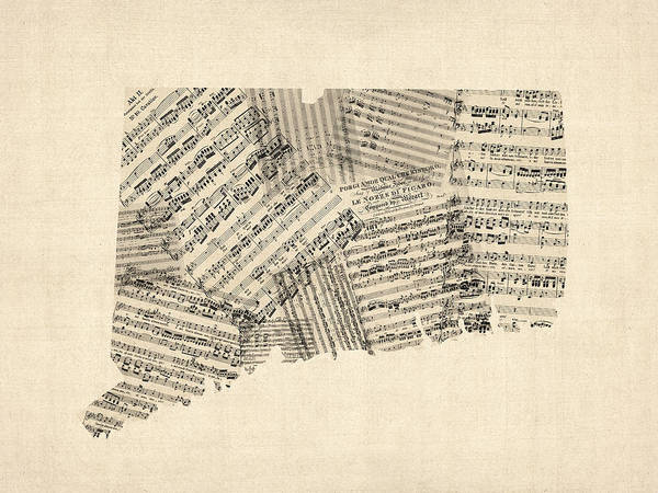 Wall Art - Digital Art - Connecticut Sheet Music Map by Michael Tompsett