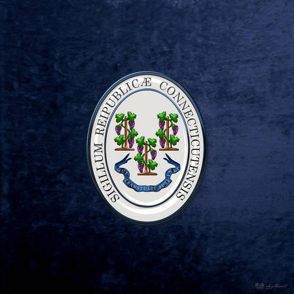 Digital Art - Connecticut State Seal Over Blue Velvet by Serge Averbukh