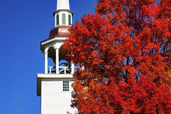 Photograph - Connecticut Steeple By Red Fall Colors by Jeff Folger
