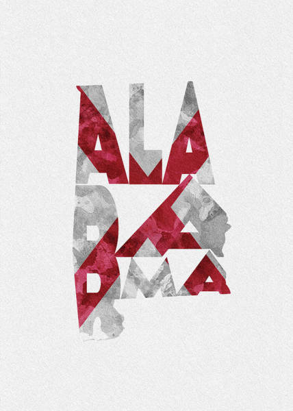 Painting - Alabama Typographic Map Flag by Inspirowl Design