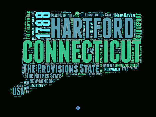 Wall Art - Digital Art - Connecticut Word Cloud Map 1 by Naxart Studio
