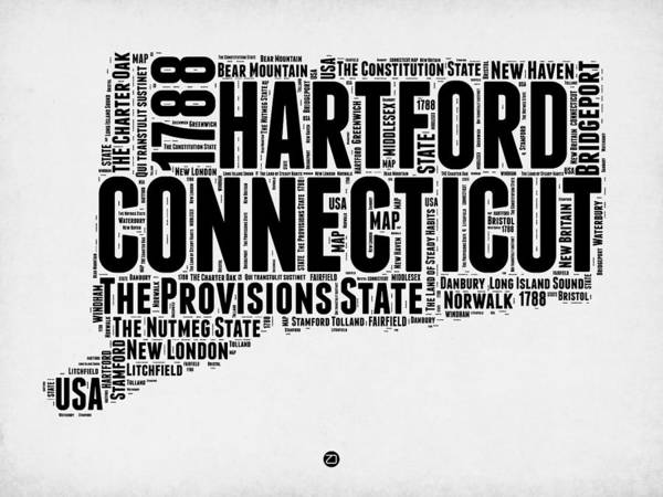 Wall Art - Digital Art - Connecticut Word Cloud Map 2 by Naxart Studio