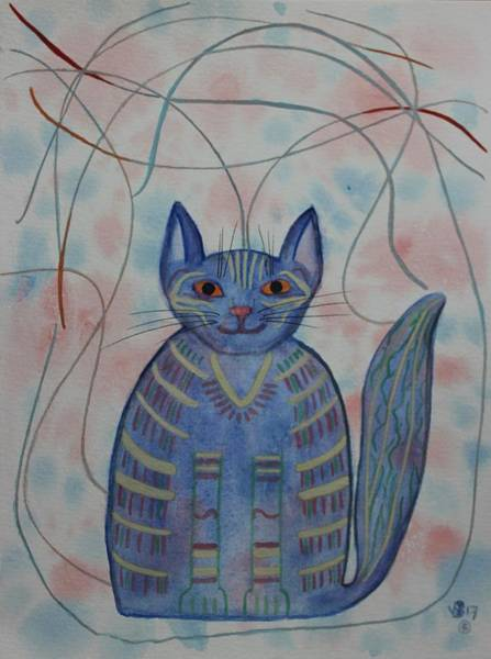 Painting - Connection Cat  by Vera Smith