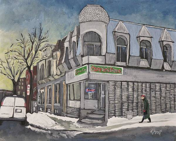 Montreal Street Scene Painting - Connie's Pizza Psc by Reb Frost