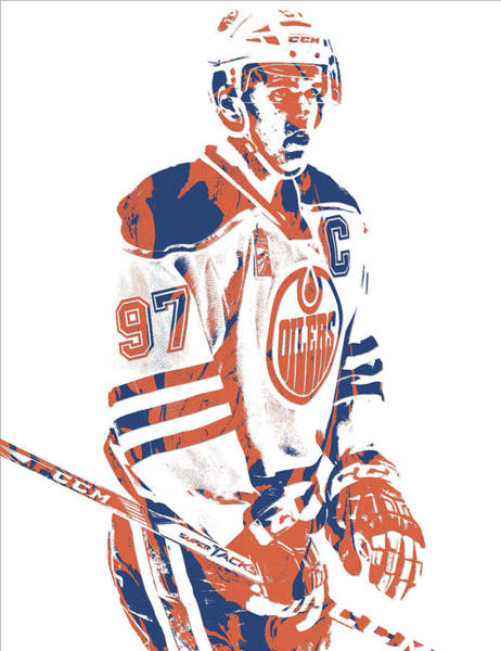 Wall Art - Mixed Media - Connor Mcdavid Edmonton Oilers Pixel Art 2 by Joe Hamilton