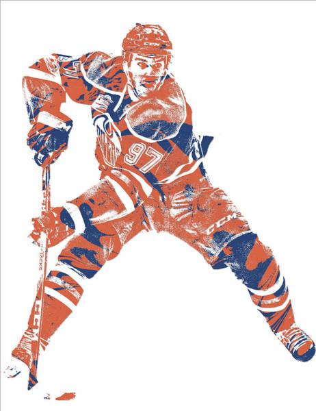 Wall Art - Mixed Media - Connor Mcdavid Edmonton Oilers Pixel Art 4 by Joe Hamilton