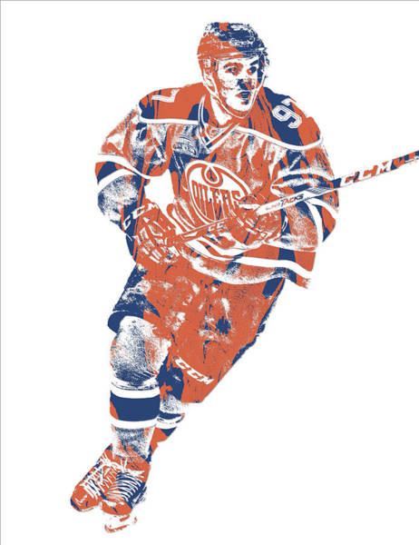 Wall Art - Mixed Media - Connor Mcdavid Edmonton Oilers Pixel Art 5 by Joe Hamilton