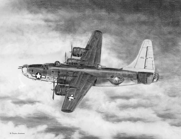 Drawing - Consolidated Pb4y-2 Privateer by Douglas Castleman