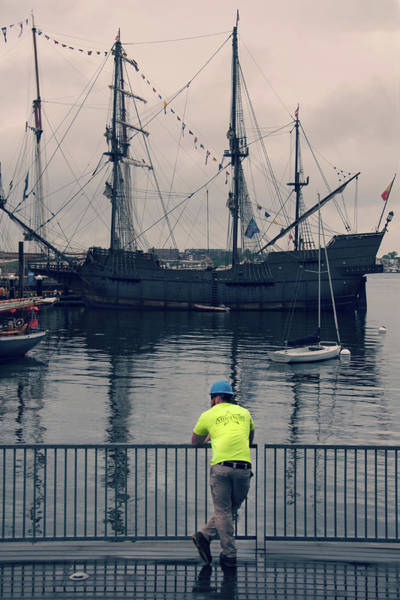 Photograph - Construction Break On Boston Harbor by Joann Vitali