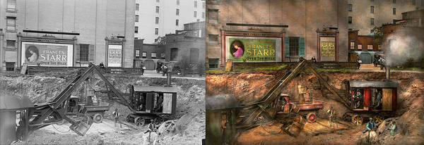 Excavator Photograph - Construction - It Pays To Flirt 1916 - Side By Side by Mike Savad