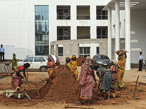 Photograph - Construction Laborers And Guards, Bhubaneswar 2010 by Chris Honeyman