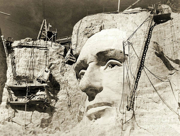 Rushmore Photograph - Construction Of The Mount Rushmore National Memorial, Detail Of Abraham Lincoln,1928  by American School