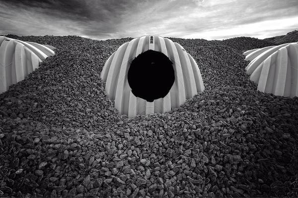 Storm Drain Photograph - Construction Site Abstract # 2651 In Black And White by Matt Plyler