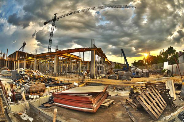 Scaffold Photograph - Construction Site by Jaroslaw Grudzinski