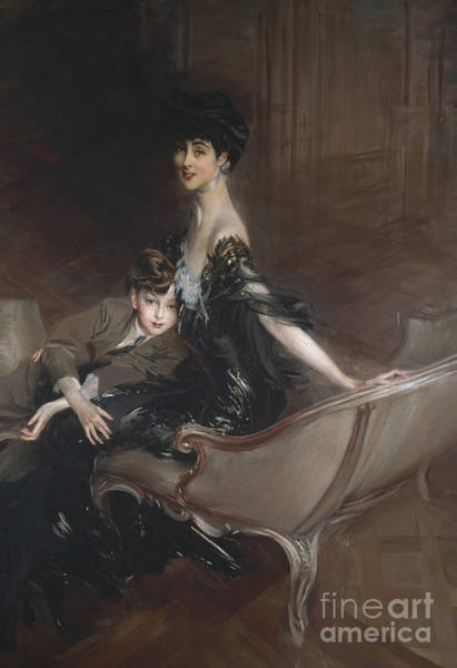Wall Art - Painting - Consuelo Vanderbilt, Duchess Of Marlborough, And Her Son by Giovanni Boldini