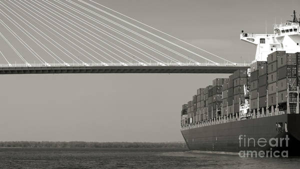 Wall Art - Photograph - Container Ship Under Cooper River Bridge by Dustin K Ryan