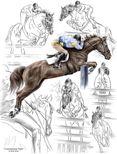 Equestrian Drawing - Contemplating Flight - Horse Jumper Print Color Tinted by Kelli Swan
