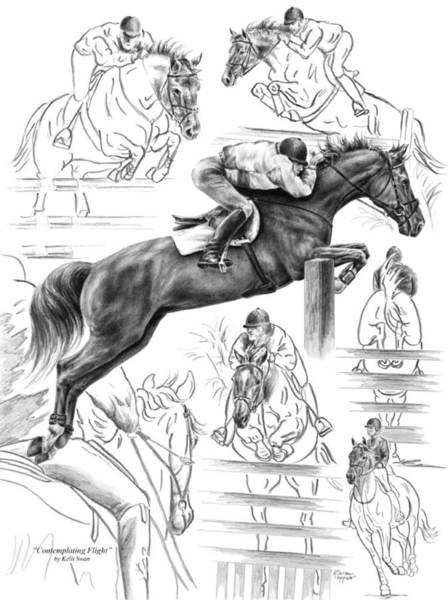 Drawing - Contemplating Flight - Jumper Horse Drawing by Kelli Swan