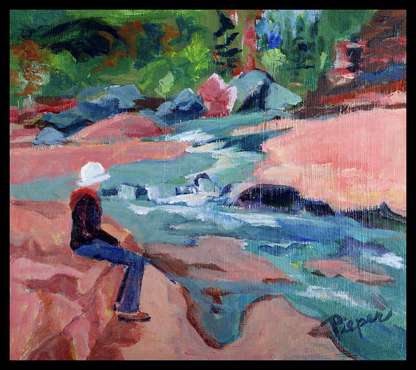 Oak Creek Canyon Painting - Contemplation At Slide Rock by Betty Pieper