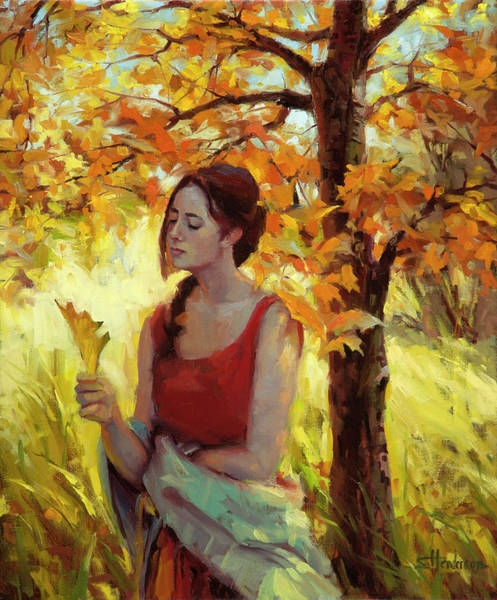 Beautiful Woman Wall Art - Painting - Contemplation by Steve Henderson