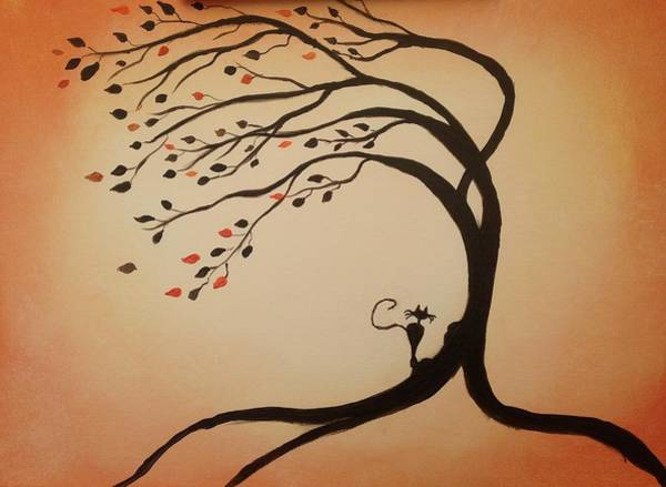 Tree Painting - Contemplative Kitty by Roxy Rich