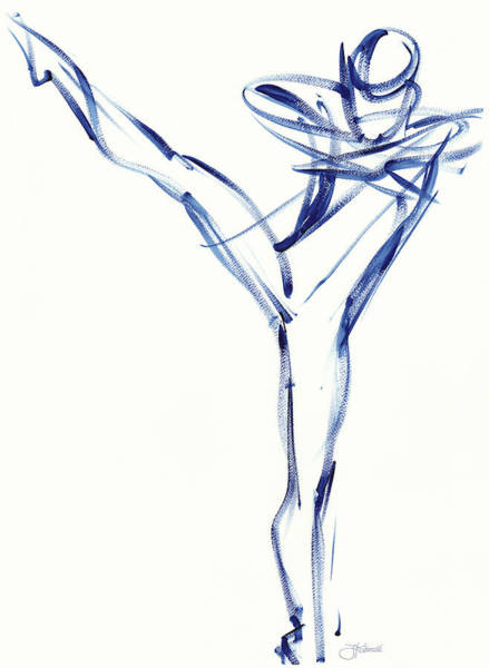 Painting - Contemporary Ballet Dancer, Blue by Judith Kunzle