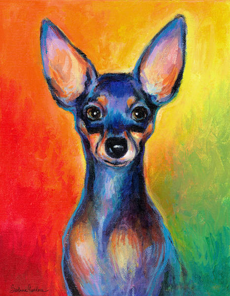 Wall Art - Painting - Contemporary Colorful Chihuahua Chiuaua Painting by Svetlana Novikova