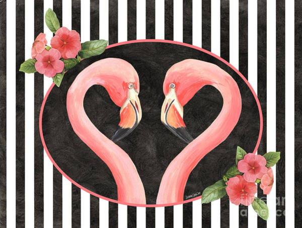 Flamingos Wall Art - Painting - Contemporary Flamingos 1 by Debbie DeWitt