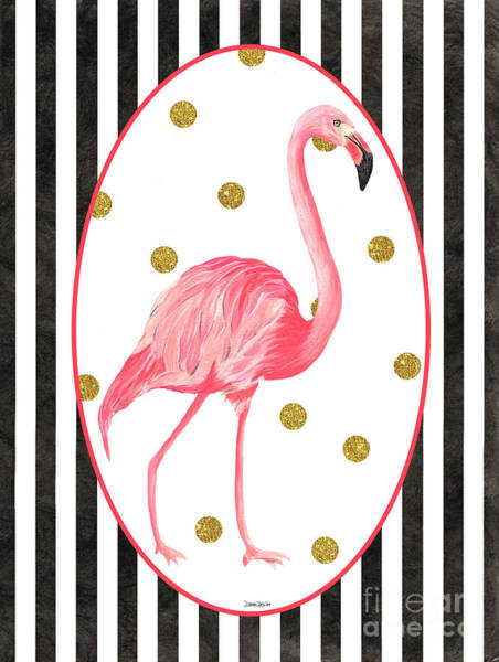 Pink Blossom Painting - Contemporary Flamingos 2 by Debbie DeWitt