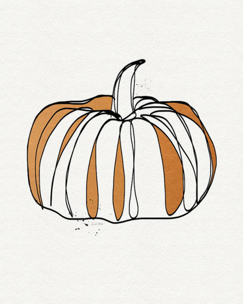 Pumpkins Wall Art - Drawing - Contemporary Pumpkin- Art By Linda Woods by Linda Woods