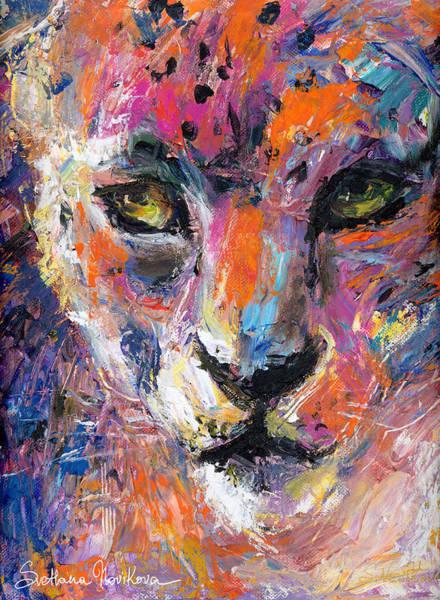 Painting - contemporary Wildlife painting cheetah leopard  by Svetlana Novikova