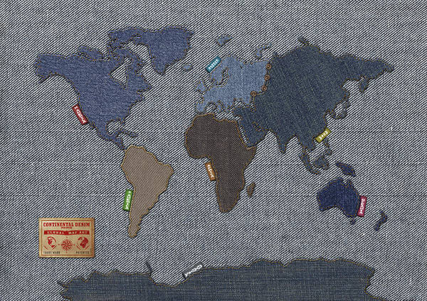 South America Digital Art - Continental Denim World Map by Michael Tompsett