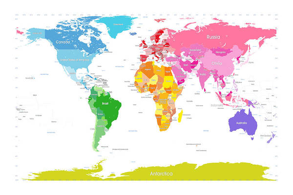Continents World Map Large Text For Kids Art Print By Michael Tompsett