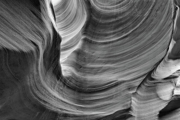 Photograph - Contours Of Stone - Black And White - Antelope Canyon by Gregory Ballos